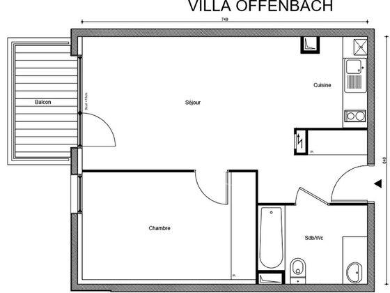 Vente appartement 2 pièces 46,75 m2