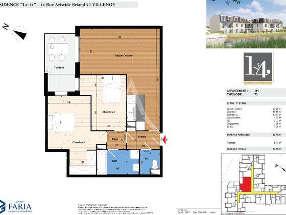 Vente appartement 3 pièces 63,76 m2
