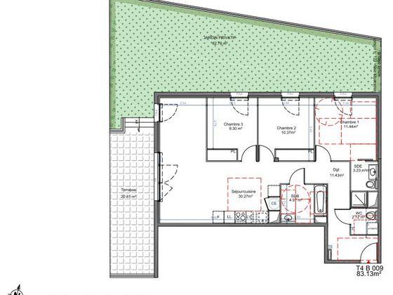 Vente appartement 4 pièces 81,19 m2