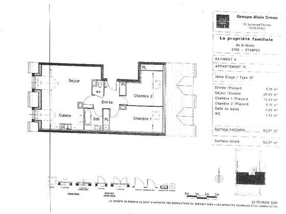 Location appartement 3 pièces 62,07 m2