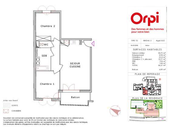 Vente appartement 3 pièces 66,57 m2