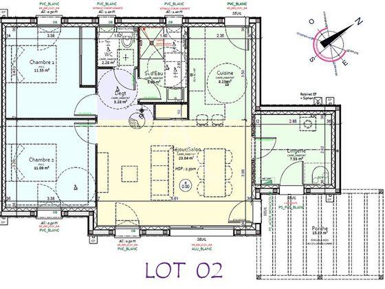 Vente maison 3 pièces 72,91 m2