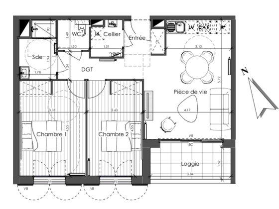 Vente appartement 3 pièces 65,16 m2