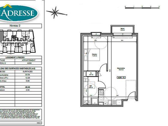 vente Appartement 2 pièces 48,46 m2 Tours