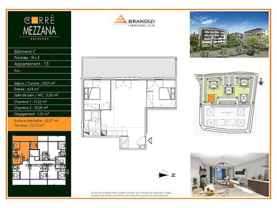 Vente appartement 3 pièces 62,1 m2
