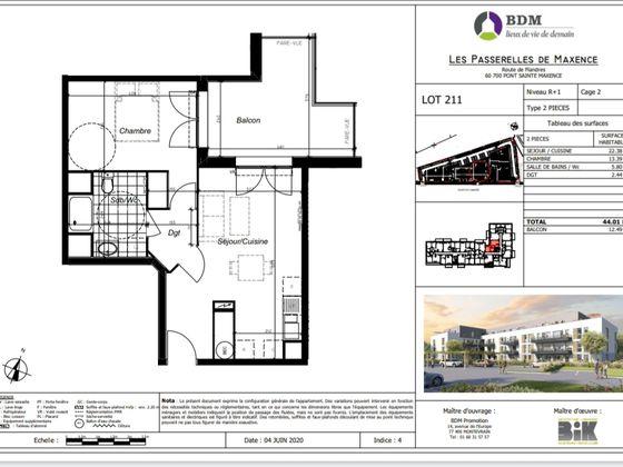 Vente appartement 2 pièces 44,01 m2