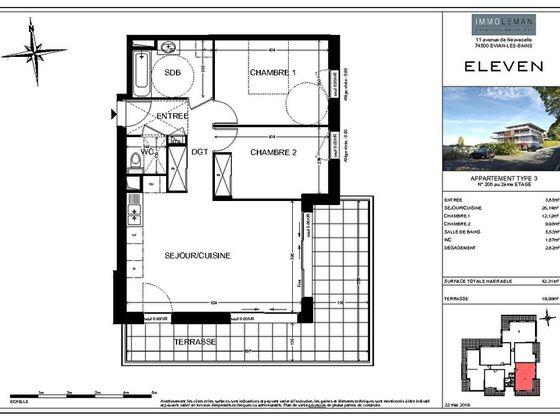 Vente appartement 3 pièces 62,31 m2