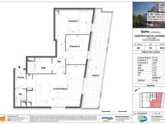 Vente appartement 3 pièces 64,96 m2