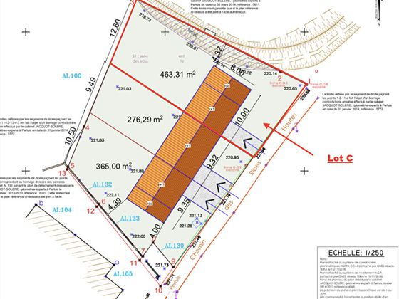 Vente terrain 461 m2