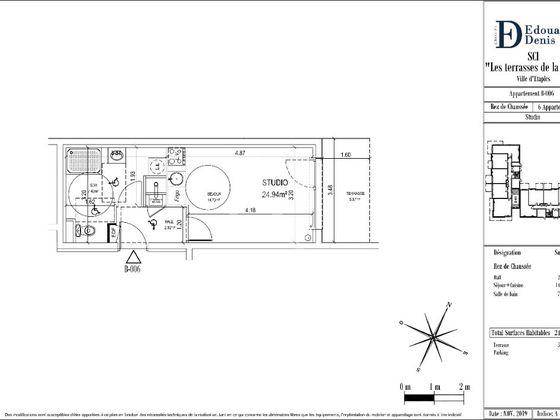 Vente studio 24,94 m2