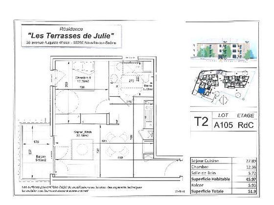 Vente appartement 2 pièces 45,97 m2