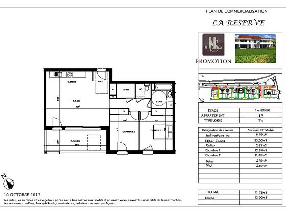Vente appartement 3 pièces 71,73 m2