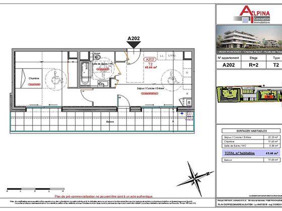 Vente appartement 2 pièces 45,44 m2