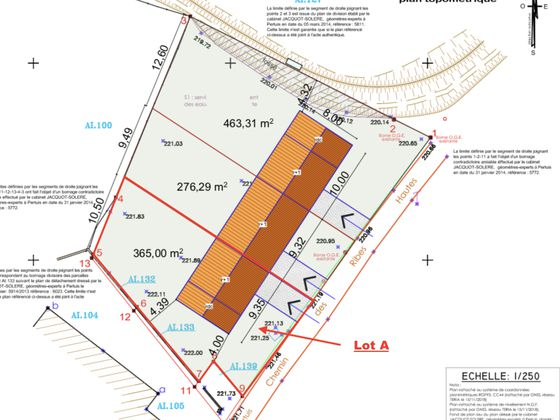 Vente terrain 361 m2