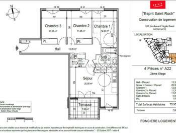 Appartement 4 pièces 74,75 m2