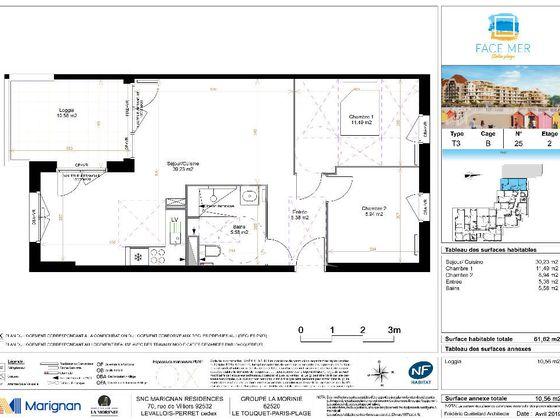 Vente appartement 3 pièces 61,62 m2
