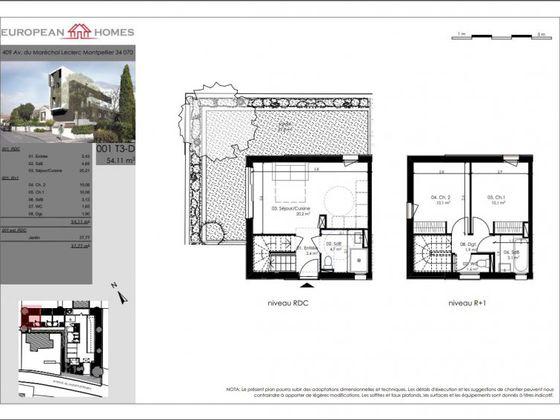 Vente duplex 3 pièces 54,11 m2