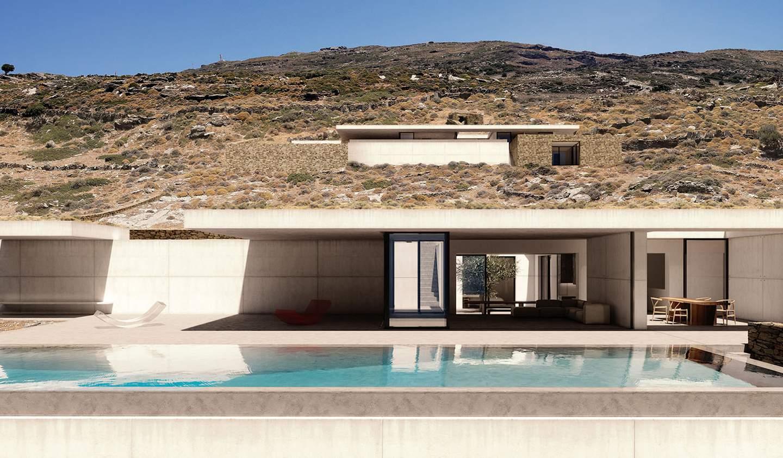Villa avec piscine en bord de mer Andros