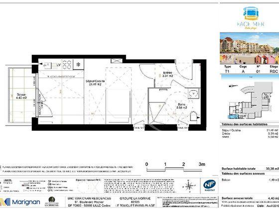 Vente studio 33,83 m2