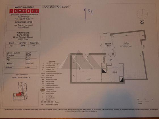 Vente appartement 2 pièces 46,82 m2