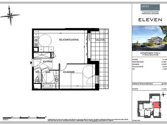 Vente appartement 2 pièces 45,07 m2