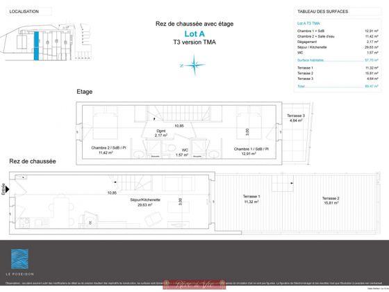 Vente duplex 3 pièces 57,7 m2