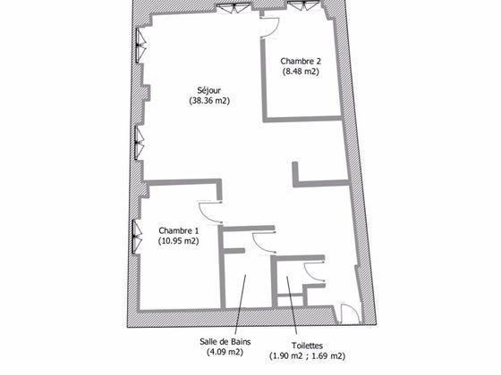 Location appartement 3 pièces 63,57 m2