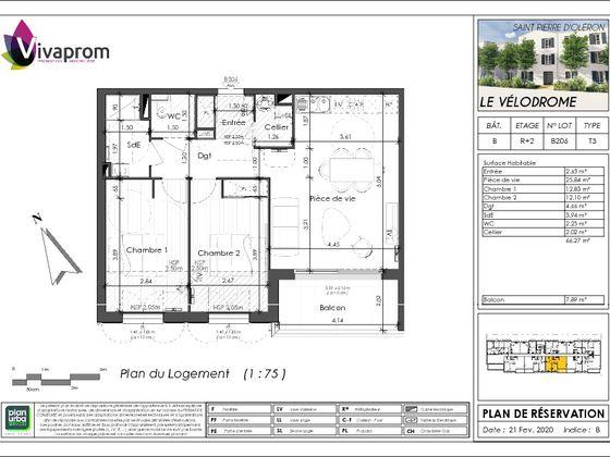 Vente appartement 3 pièces 66,27 m2