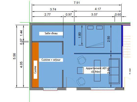 Location studio meublé 42 m2
