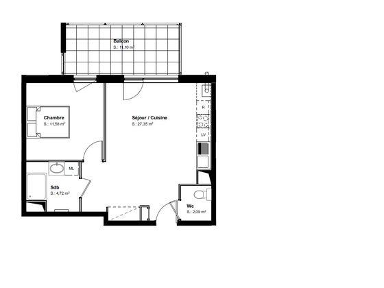 Vente appartement 2 pièces 45,94 m2