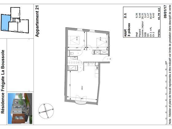 Vente appartement 3 pièces 61,7 m2
