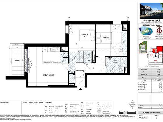 Vente appartement 3 pièces 64,54 m2