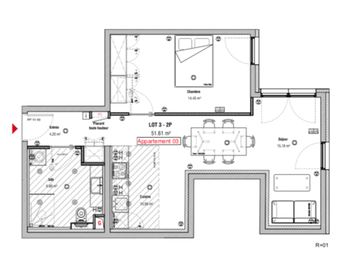Appartement 15 pièces 50 m2