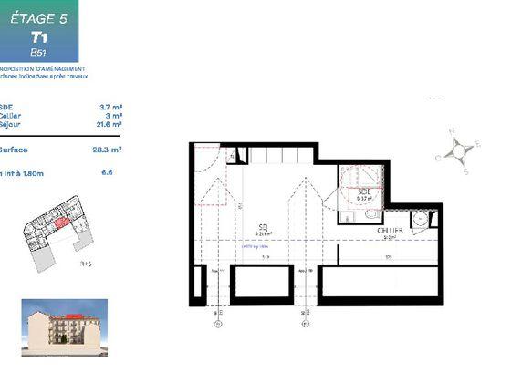 Vente studio 34,9 m2