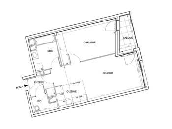 Appartement 2 pièces 51,71 m2