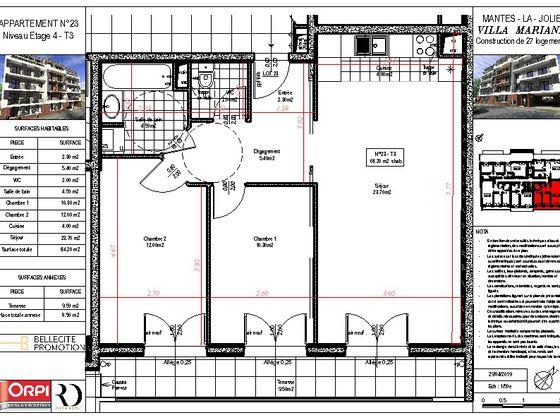 Vente appartement 3 pièces 64,2 m2