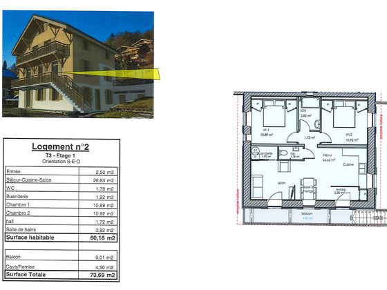 Vente appartement 3 pièces 60,18 m2