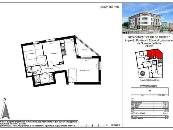 Vente appartement 3 pièces 59,13 m2