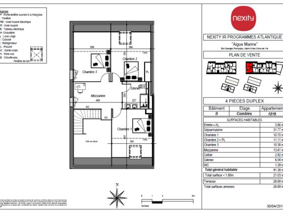 Vente appartement 4 pièces 91,38 m2