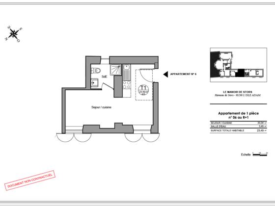 Vente studio 23,49 m2