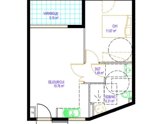 Vente appartement 2 pièces 44,38 m2